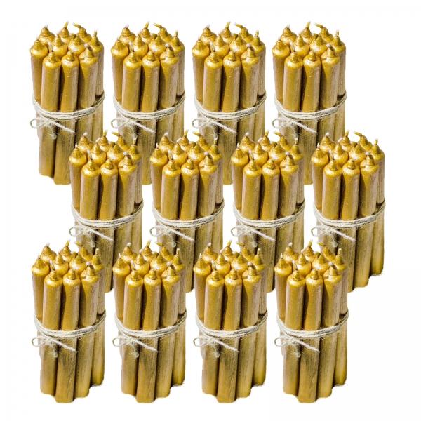 12 Seturi Lumanari Aurii de 10 buc, drepte 2,2*22cm 1