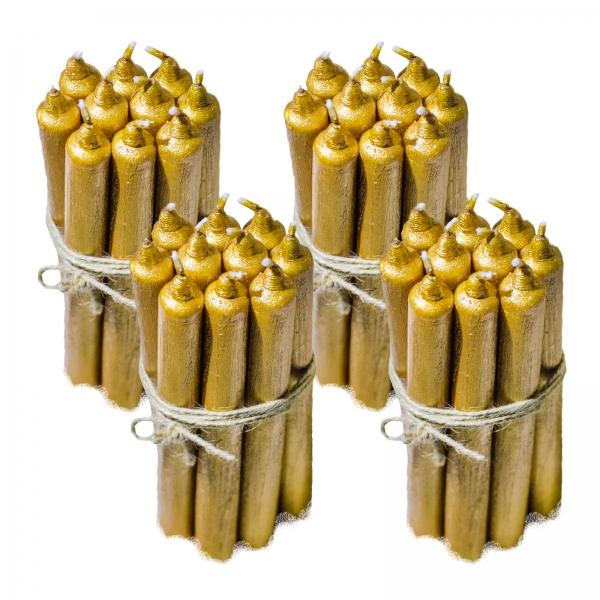 4 Seturi Lumanari Aurii de 10 buc, drepte 2,2*22cm 1
