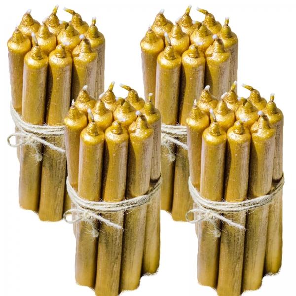 4 Seturi Lumanari Aurii de 10 buc, drepte 2,2*22cm 0