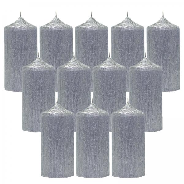 Bax 12 Lumanari Argintii, cilindru 13 cm 0