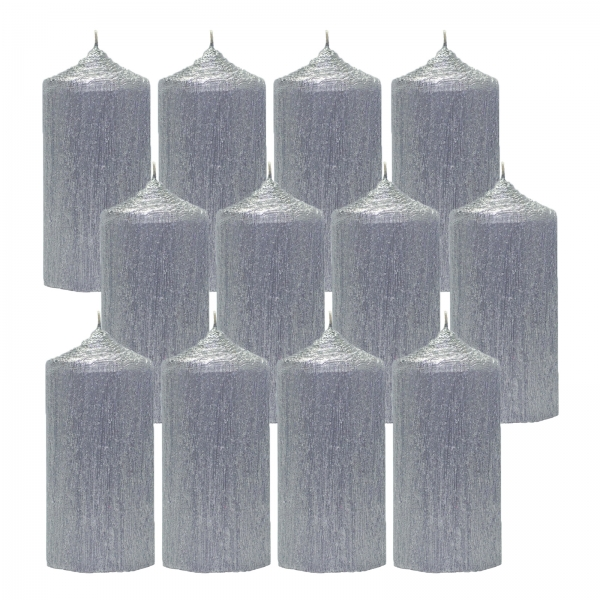 Bax 12 Lumanari Argintii, cilindru 13 cm 1