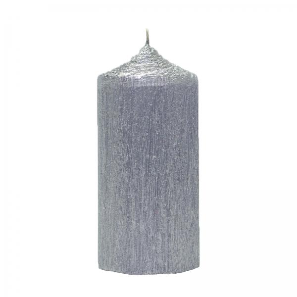 Set 4 Lumanari Argintii, cilindru 13 cm 2