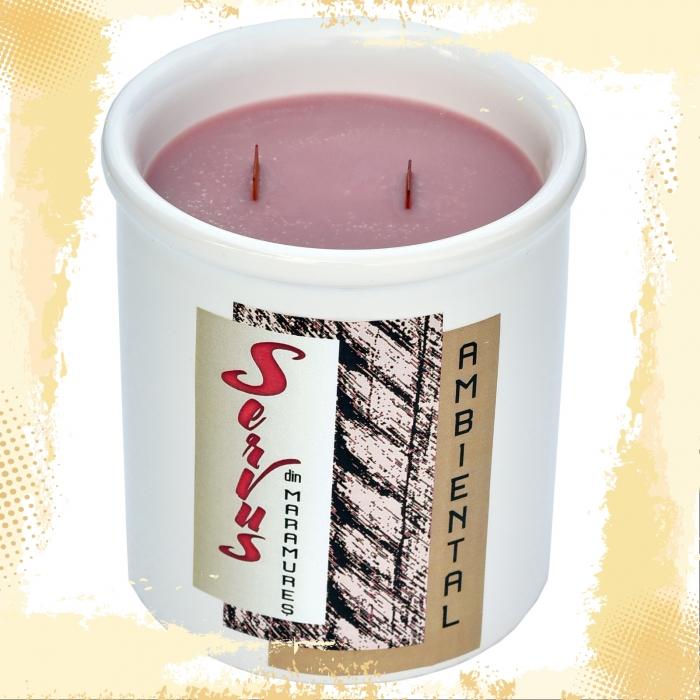 Lumanare Parfumata AMBIENTAL, cu 2 fitile din lemn 1