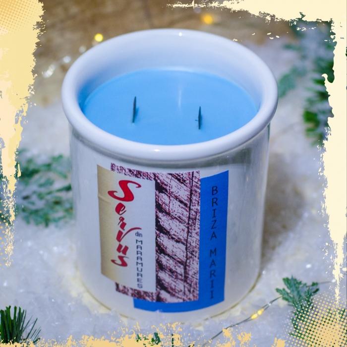 Lumanare Parfumata BRIZA MARII, cu 2 fitile din lemn 1