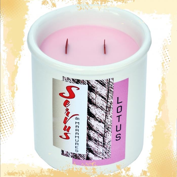 Lumanare Parfumata LOTUS, cu 2 fitile din lemn 1
