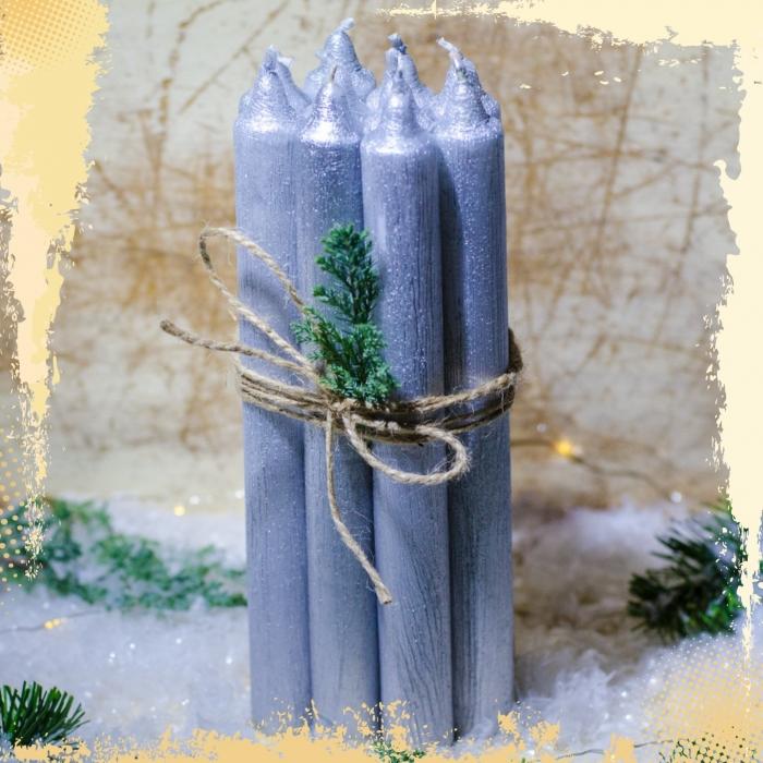 Set 10 Lumanari Argintii, drepte 2,2*22 cm 1