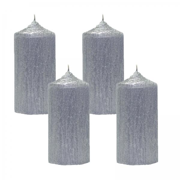 Set 4 Lumanari Argintii, cilindru 13 cm 1
