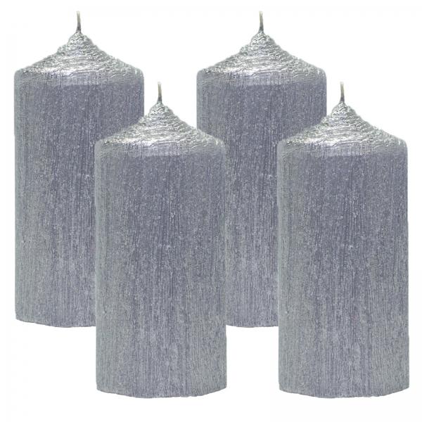 Set 4 Lumanari Argintii, cilindru 13 cm 0