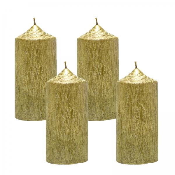 Set 4 Lumanari Aurii, cilindru 13 cm 1