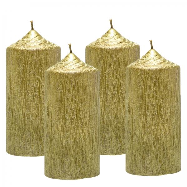 Set 4 Lumanari Aurii, cilindru 13 cm 0